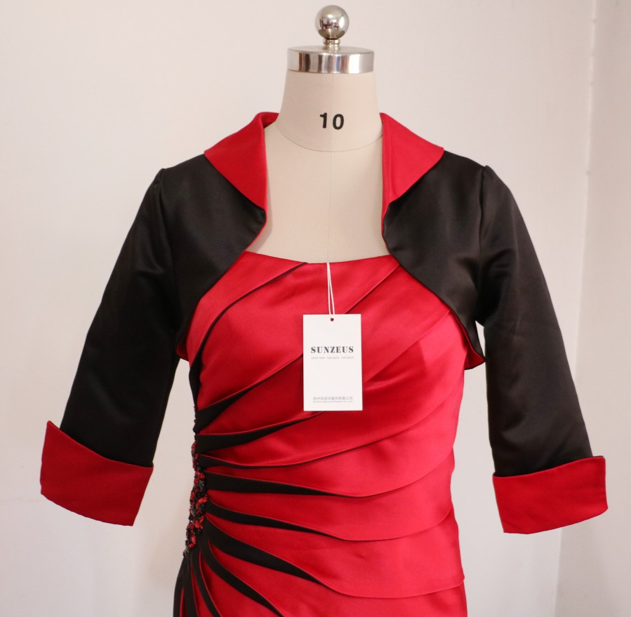 Black and Red Satin Knee Length Mother of the Bride Dresses with Jacket Pleat with Beaded Attractive Modern Party Dresses S632 in Mother of the Bride Dresses from Weddings Events