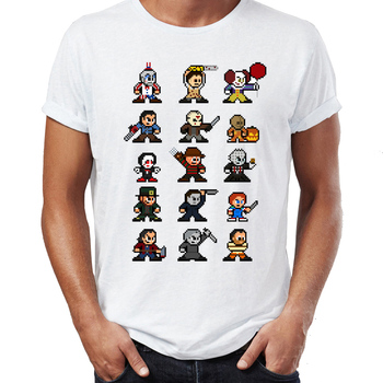 Men T-shirt Classic Horror Halloween Maniac Jason Hannibal Clown Chucky Jigsaw Horror Icons Artsy Awesome Artwork Tshirt Tees image
