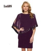 3XL Plus Size Women Summer Chiffon Dress Fashion Ruffles O Neck Batwing Sequined Cover Sleeve Kawaii