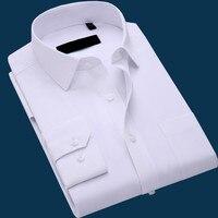 Summer Long Sleeve Solid Color Shirt Mens Business Causal Shirts Korean Slim Fit Work Formal Dress