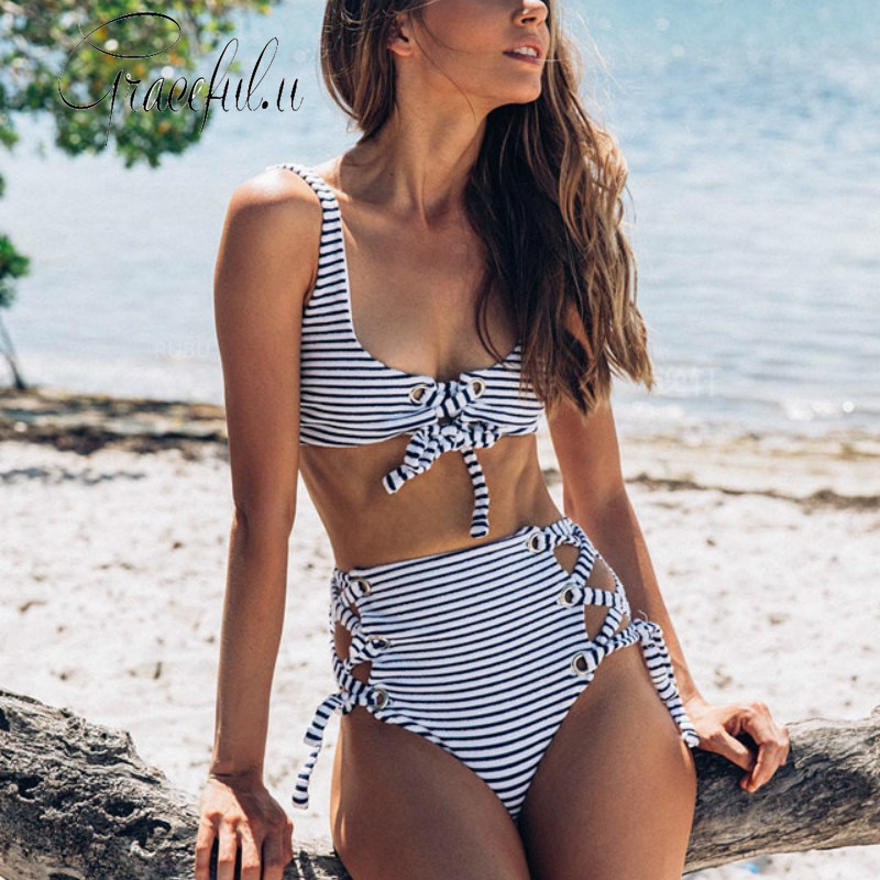 <font><b>2019</b></font> Two-piece Swim Suit <font><b>Sexy</b></font> <font><b>Women</b></font> <font><b>High</b></font> <font><b>Waist</b></font> Striped <font><b>Push</b></font> Up Padded <font><b>Swimwear</b></font> Swimming Suit Bathing Suit Beachwear <font><b>Bikini</b></font> image