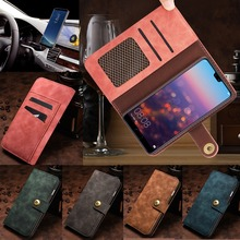 Vintage Leather Detached Wallet Case For Huawei P20 Pro P30 Lite Matte Cover Adsorption Pouch Magnetic Car Holder Stand