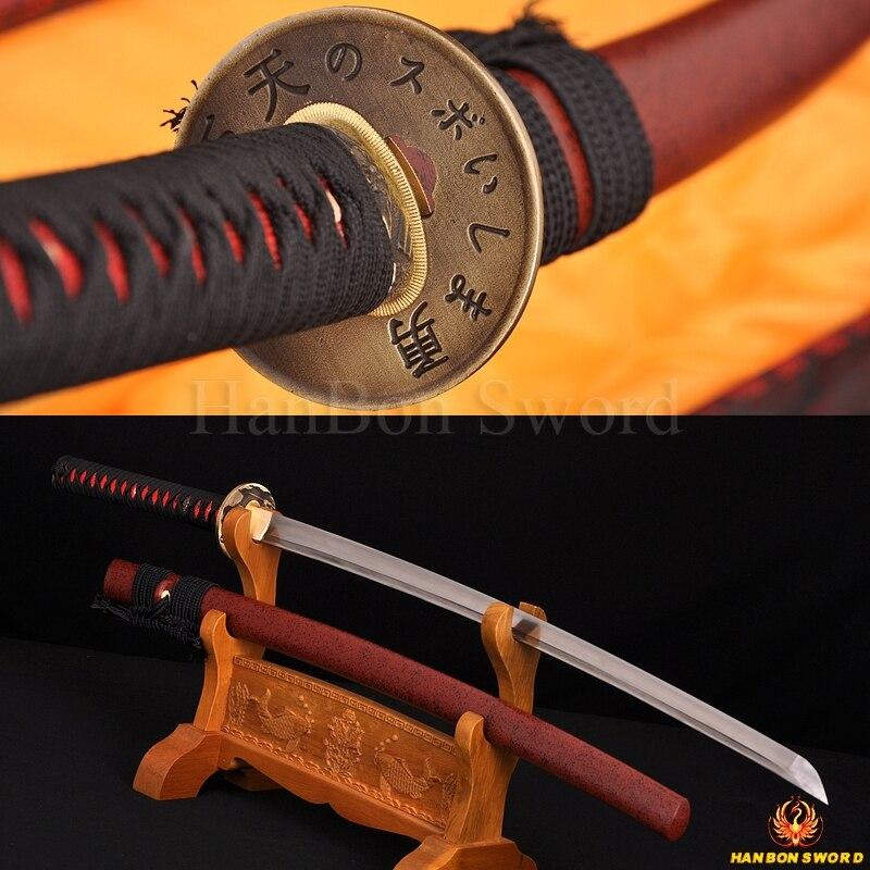 """Full Tang Praktický Katana Samurai Japonský meč Iaido 1060 z uhlíkové oceli Ručně vyrobená čepel Vlastní válečník Tsuba Japonsko Katanas 41 """""""