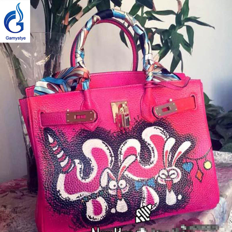 NEW Graffiti Custom bags genuine leather totes women Messenger Bags Hand painting rabbit bag bags Crossbody pink 35cm 40cmNEW Graffiti Custom bags genuine leather totes women Messenger Bags Hand painting rabbit bag bags Crossbody pink 35cm 40cm