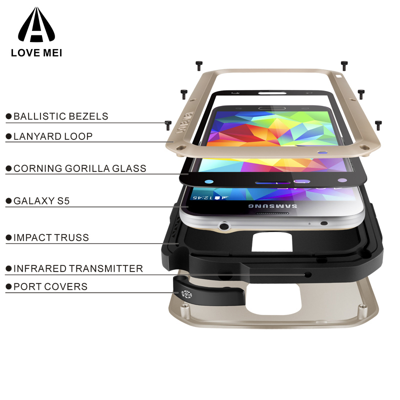 LOVE MEI Aluminum Metal Case For Samsung Galaxy S5 I9600 G900F Cover Armor Shockproof Life Waterproof Case For Samsung S5 Coque
