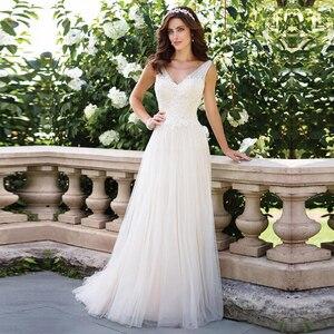Image 1 - V Neck Vestido de Noiva Sleeveless Wedding Dress Lace Appliques Ball Gowns Backless Simple Bride Dresses Custom Made