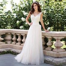 V צוואר Vestido דה Noiva שרוולים חתונה שמלת תחרה אפליקציות כדור כותנות ללא משענת פשוט הכלה שמלות תפור לפי מידה