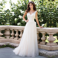V คอ Vestido de Noiva แขนกุดชุดแต่งงานลูกไม้ Appliques Gowns Backless ง่ายเจ้าสาว Custom Made