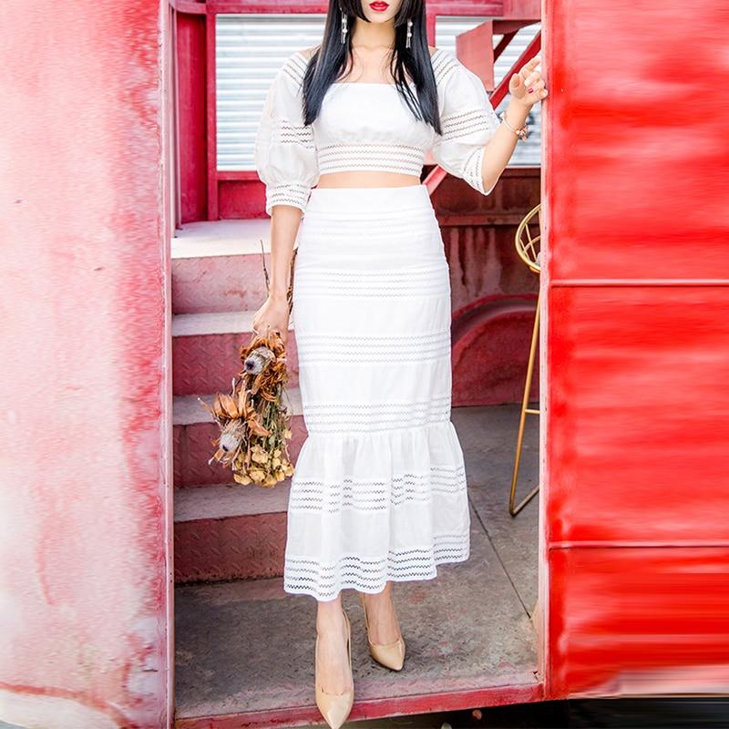 Chemises Évider Roosarosee Femmes Piste Blouse Ensemble 2019 Rouge Mode Blanc 2 De Manches Puff Designer D'été Costumes Hauts Pièces Blanche Tqgwpz