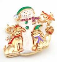 Broche de muñeco de nieve de Navidad Venta caliente copo de nieve Perro Amor corazón broches para regalos de navidad