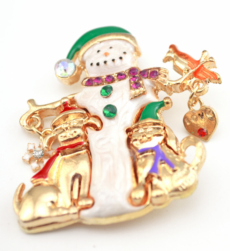 Christmas Snowman Brooch Hot Selling Snowflake Bird Dog Love Heart  Brooches For Xmas Gifts