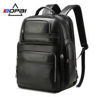 BOPAI Luxury Genuine Leather Backpack for Men Women Travel Black Bagpack Top Layer Cow Leather Men Business Laptop Backpacks