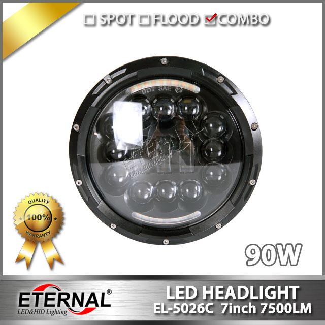 free shipping-90W LED headlight kit H4 H13 headlamp hi low sealed beam for motorcycle car automotive heavy duty trucks 4x4