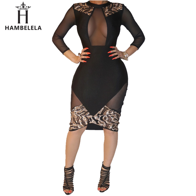HAMBELELA Women Black Sexy Club Bodycon Dress Sheer Mesh Patchwork Sequined  Dress Vintage Long Sleeve Bandage 241b53676c33