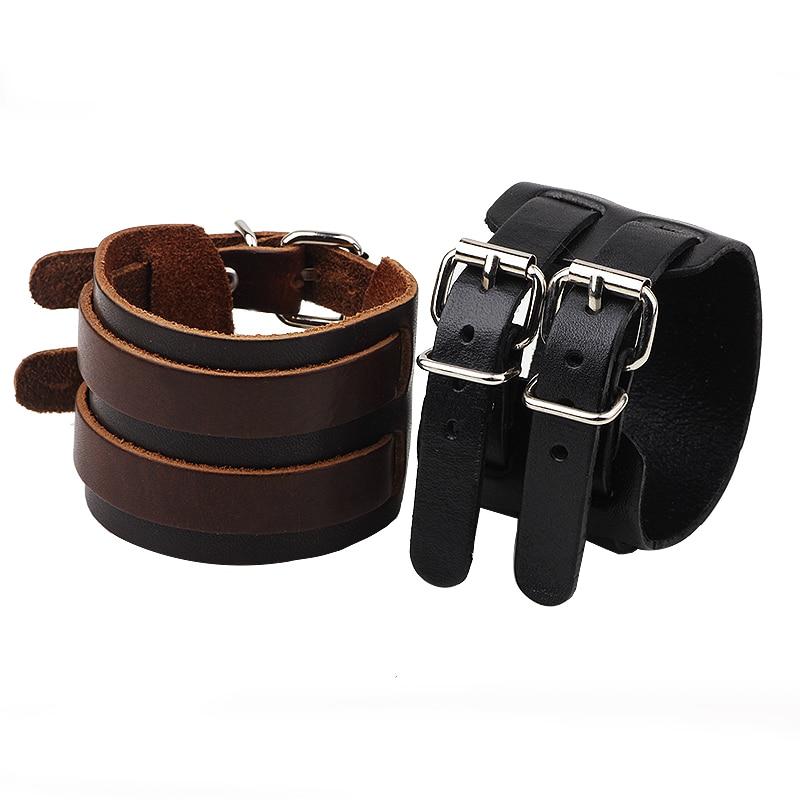 Linnor New Fashion Black Brown Genuine Leather Wrap Braslet Punk Homme Bracelt Female Male Bangle Gift for Women