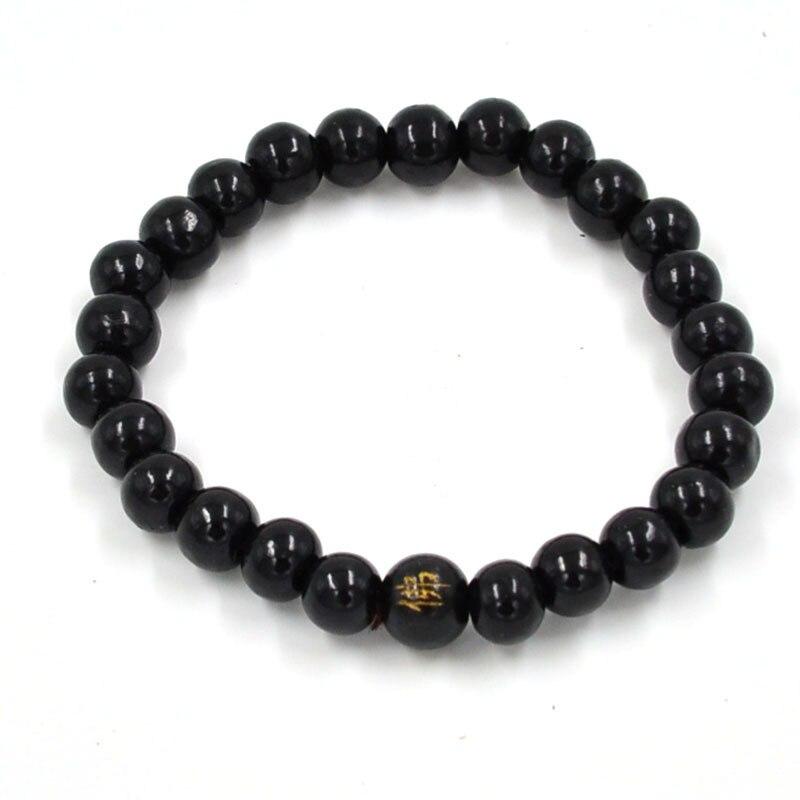 108 бусины 8 мм натуральные буддийские бусы из сандалового дерева будды деревянные молитвенные бисерные узелки черные эбеновые унисекс Мужские браслеты и браслеты для женщин - Окраска металла: 6 black