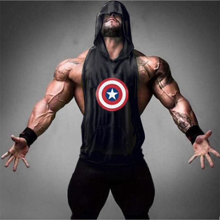 Captain America Hero Bodybuilding Stringer Hoodies Gyms sleeveless Hoodie Fitness Tank Top Mens Clothing Cotton Pullover Hoodies