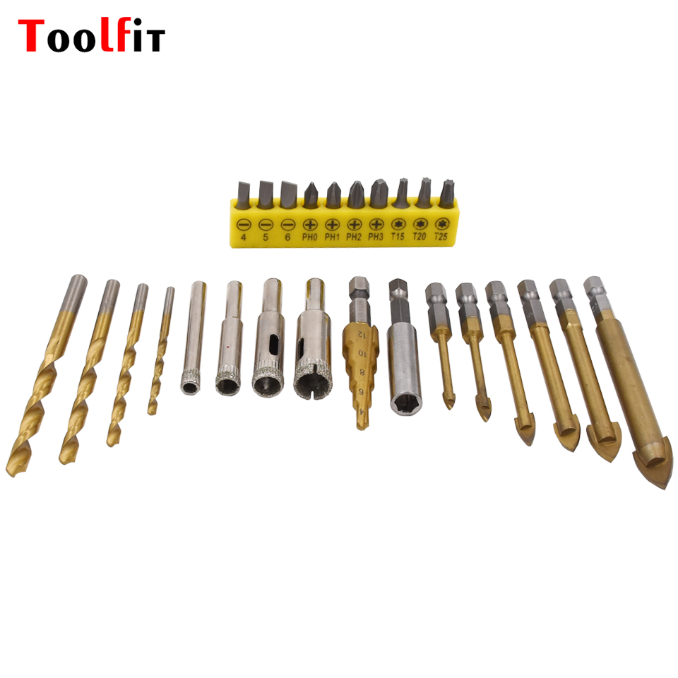 Toolfit 26Pcs Titanium Coated Drill Bit Set Tungsten Carbide Glass  1/4 Hex Shank Power Tools Accessories Bit Drill g 3pcs set quick change hex shank larger titanium coated m2 tool step drill bit set 71960 t