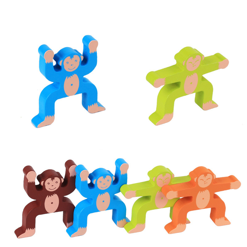 Kids Wooden Toy Building Block Monkey Balance Stack Blocks Brick Toys Table Game Play with Family Early Educational Infant Gift
