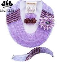 Majalia Fashion Classic Nigerian Wedding African Jewelery Lilac Crystal Necklace Bride Jewelry Sets Free Shipping 10CJ0045