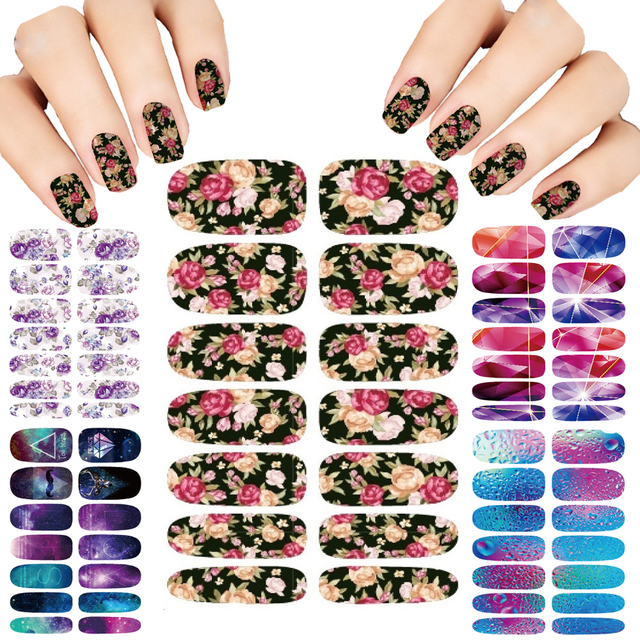 Nails Art Lot flower Mystery Galaxies Design stickers for nails Manicure Decor Fashion Nail Stickers Wraps Water Sticker Decals