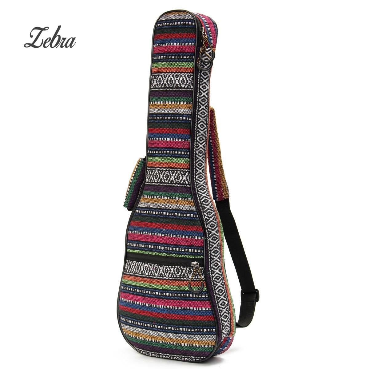 Zebra 23 inch Soft Padded Cotton Folk Style Portable Bag Case Cover Backpack Double Shoulder For Ukulele Guitar Gig Bag 21 inch colorful ukulele bag 10mm cotton soft case gig bag mini guitar ukelele backpack 2 colors optional