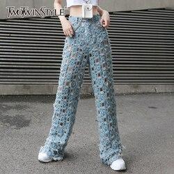 TWOTWINSTYLE Streetwear Breite Bein Hosen Für Frauen Hohe Taille Ripped Loch Denim Hose Weibliche Mode Kleidung Sommer 2019