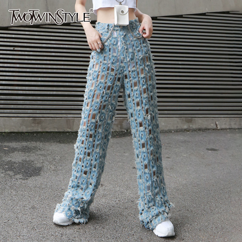 TWOTWINSTYLE Streetwear Wide Leg Pants For Women High Waist Ripped Hole Denim Trousers Female Fashion Clothing Summer 2020