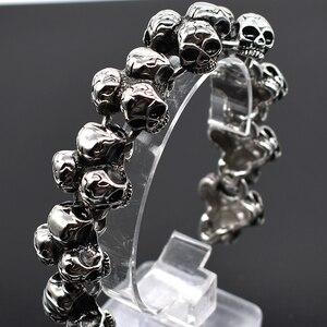 Image 4 - AMUMIU pulsera de calavera de acero inoxidable para hombre, accesorio de joyería para motorista, Punk Rock, brazaletes para hombre, HZB109