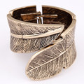 Punk Rock New Fashion Vintage Wide Alloy Feather Angel Wing Leaves Cuff Bracelet Bangles Adjustable boho pulseira ouro for Women