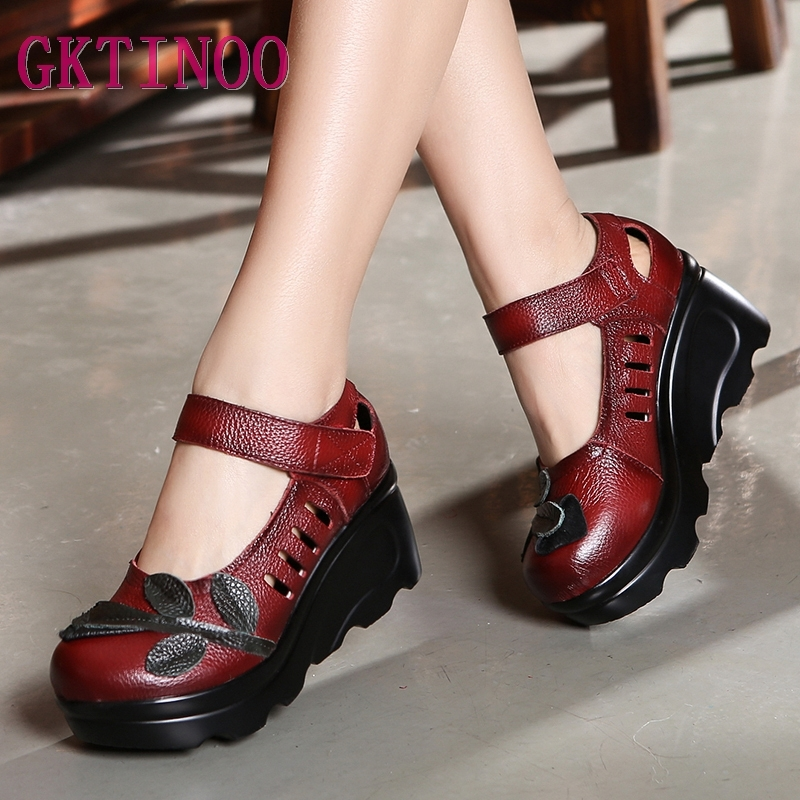 Handmade 2020 Spring Autumn Ethnic Comfortable Women Wedges Genuine Leather Women's Shoes Round Toe Platform High Heels Pumps