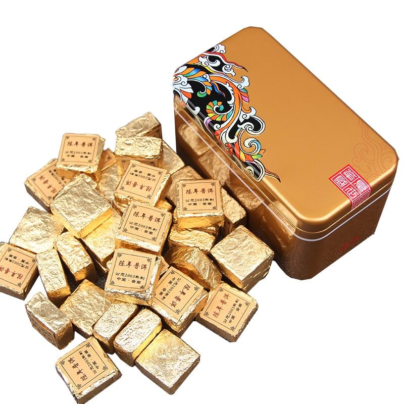 Yunnan Menghai Puer Golden Brick Mini Tea Ripe for Slimming Health Care Pu-erh 250g