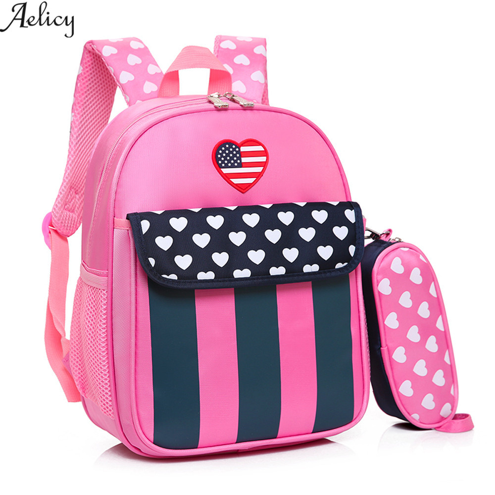 Aelicy Kids Backpack Star Striped Heart Dot Baby Girls Backpack Toddler kids boy School Bag 2Pcs Set mochilas mujer dropshippingAelicy Kids Backpack Star Striped Heart Dot Baby Girls Backpack Toddler kids boy School Bag 2Pcs Set mochilas mujer dropshipping