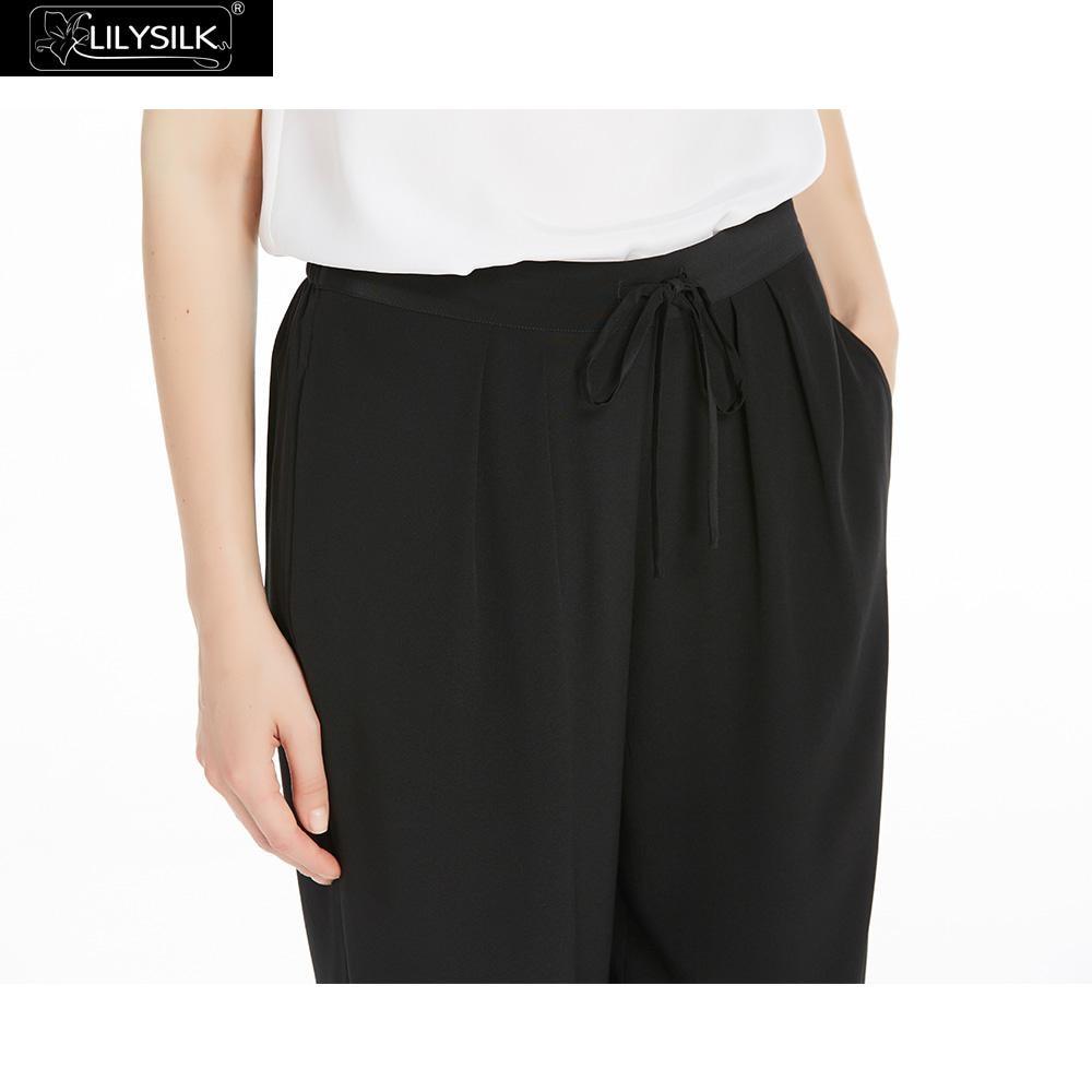 Cordon Mm 18 Dames Confortable Pantalon Harem Soie De Noir Devant Femmes Avec Sur Lilysilk Réglable Le Plissée IBHZqXB