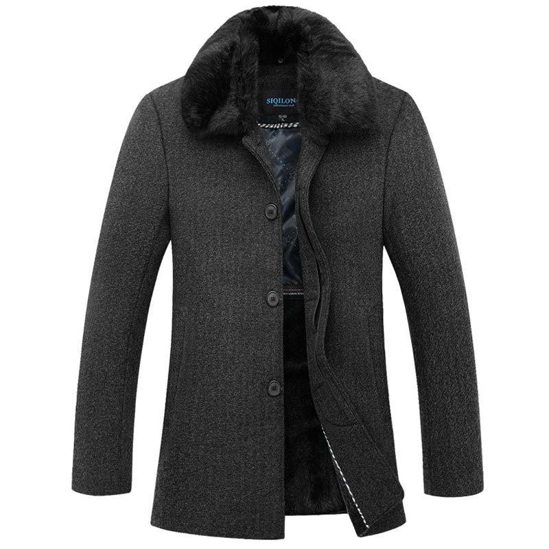 Online Shop Luxury Fashion Design Big Fur Collar Pea Coat Men ...