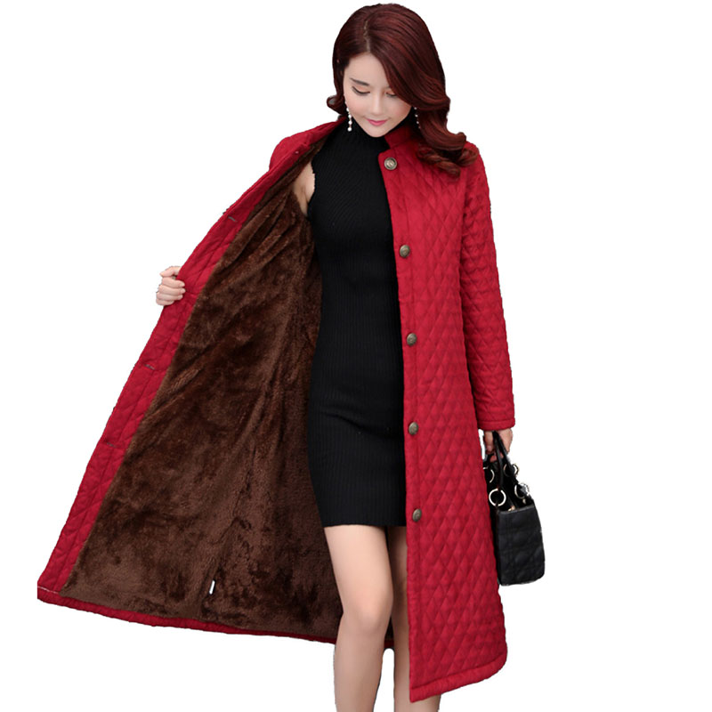 NEW Winter Thick Flocking Cotton Jacket Women Embroidery Lengthen Parkas Plus size Middle aged Female Casual Top Warm Coats N229