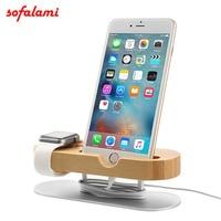Mobiele Telefoon met Aluminiumlegering Base Bamboe Stand Opladen Dock Station Cradle houder voor Apple Horloge 38 42 iPhone 6 7 8 X Telefoon