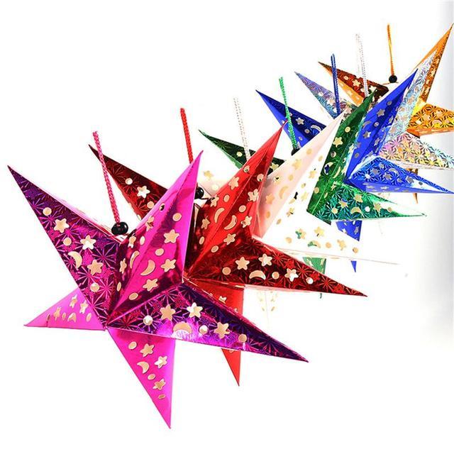 45cm paper star lantern 3d pentagram lampshade for christmas xmas