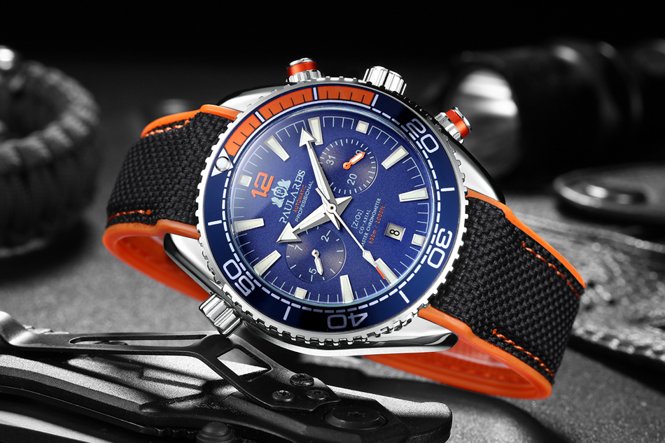 HTB1bwRfd.GF3KVjSZFvq6z nXXaB Automatic Self Wind Mechanical Canvas Rubber Strap James Bond 007 Style Orange Blue Red Multifunction Date Month Men Sport Watch