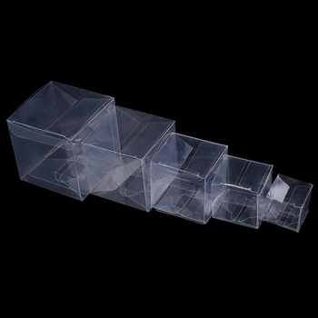 50Pcs/lot Wedding Favor Party Event Decoration caja de dulces Transparent Clear Gift Candy Box Square PVC Chocolate Bags Boxes image