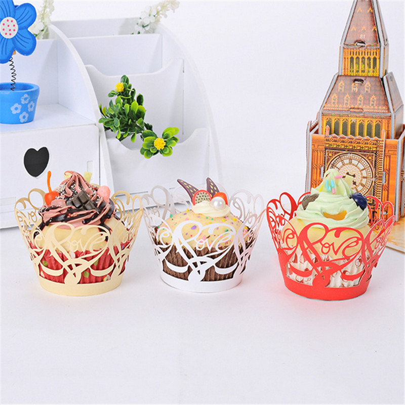 Laser cut Love Design Cupcake Wrappers Cake Wedding invitations Birthday Baby Shower Party decoration cupcake Feast Favors 50Pcs