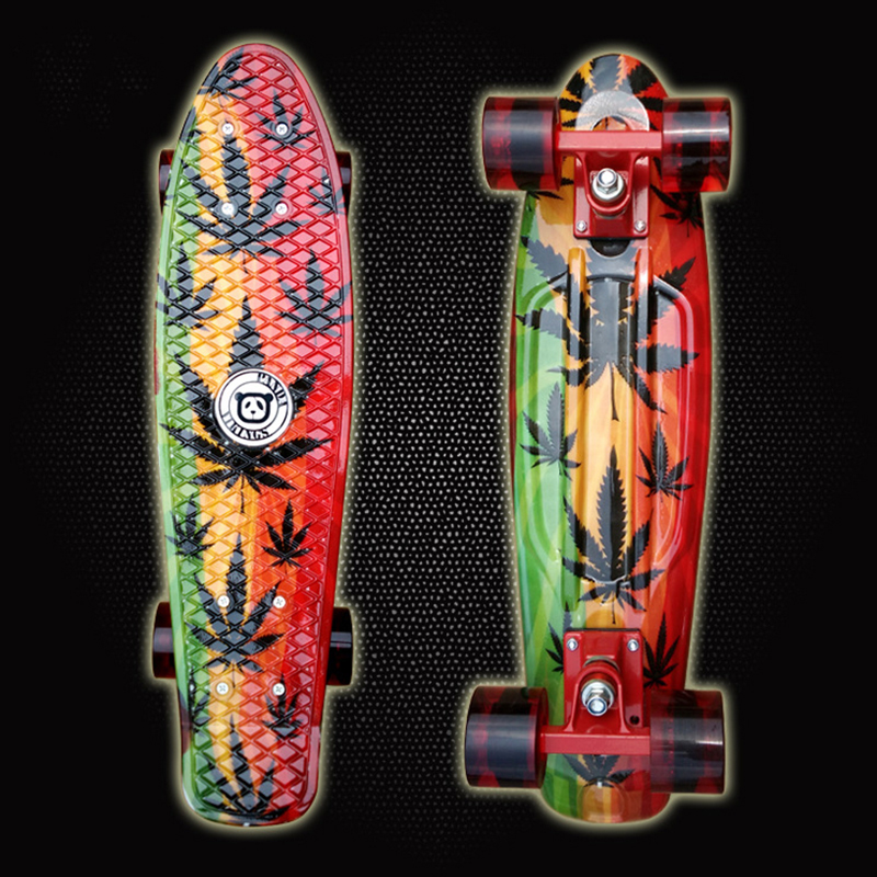 Free Shipping Printed 22 Lightweight Complete Skateboard Durable Plastic Skate Board for Boy Girl Outdoor Activities PN10