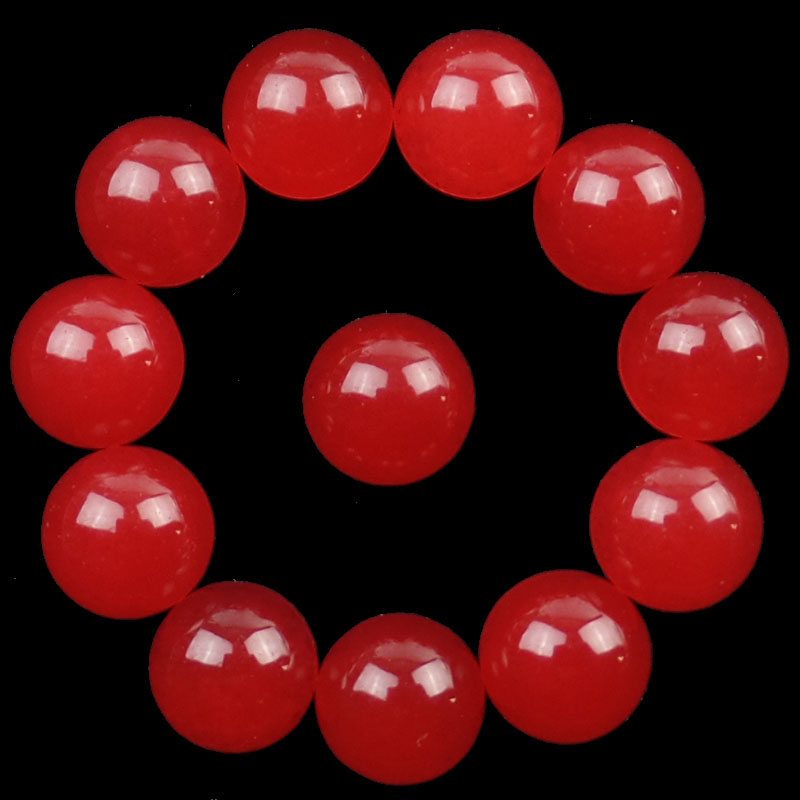 Free Shipping YUTENG 12Pcs Red Jades Round CAB CABOCHON 10x5mm SHX1571