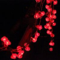 Traditionnel rouge lanterne led lumière de corde 4 M avec 40 pcs led à piles pour articles de fête Chinois Nouvelle Année décoration