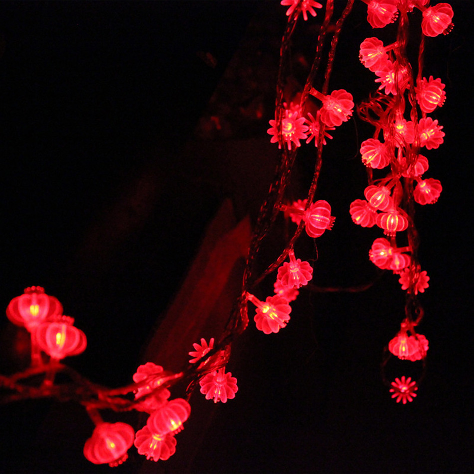traditional red lantern led string light 4M with 40pcs leds battery operated for party supplies Chinese New Year decoration