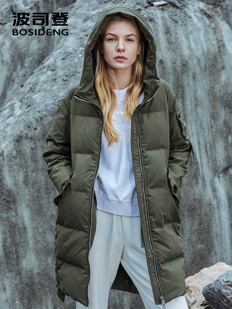 BOSIDENG 2018 new winter thicken down jacket women down coat hooded outwear long parka waterproof warm