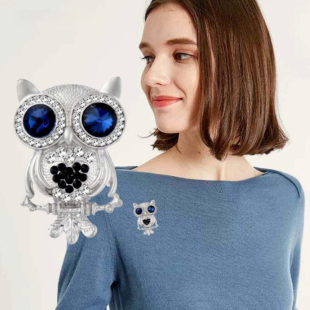 Sinleery Fashion Cute Blue Eye Owl Brooches Pins Silver Color Animal Broches Jewelry For Women Scarf Lapel Pins Xz009 Ssh To Make One Feel At Ease And Energetic Jewelry Sets & More Jewelry & Accessories