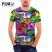 FORUDESIGNS Wholesale Interesting T-shirt Free Style Design Elastic Colorful Graffiti Shirts Man Cool Tee Shirt Toops S-XXL
