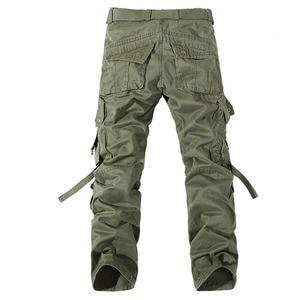Image 2 - 2019 nowe męskie spodnie bojówki zieleń wojskowa duże kieszenie dekoracje męskie spodnie typu casual łatwe pranie męskie jesienne spodnie wojskowe plus rozmiar 42