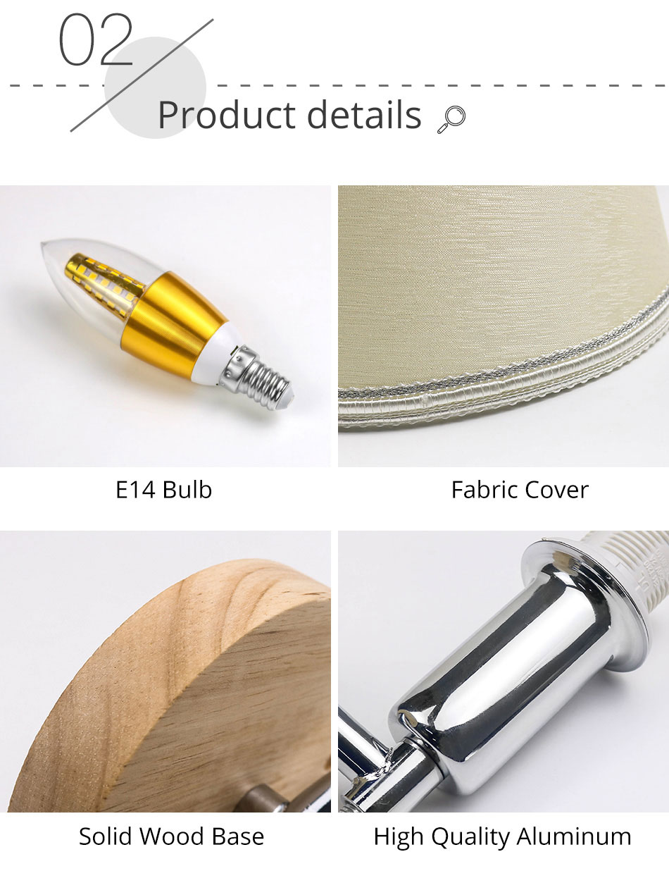 LED Bedside Wall Lamp E14 Bulb Fixtures Wood Aluminum Reading Light Fabric Glass wall Sconce Living Room Bedroom Indoor Lighting (8)